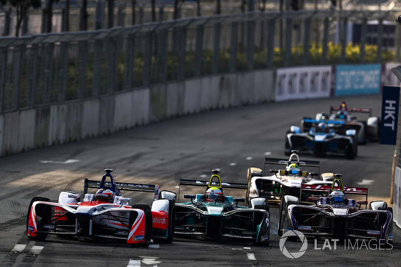 Felix Rosenqvist, Mahindra Racing, leads Oliver Turvey, NIO Formula E Team, Sam Bird, DS Virgin Racing