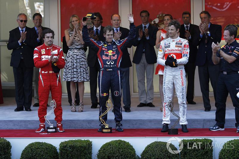 2011: 1. Sebastian Vettel, 2. Fernando Alonso, 3. Jenson Button