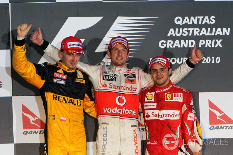 Podium: second place Robert Kubica, Renault F1 Team, Race winner Jenson Button, McLaren, second plac