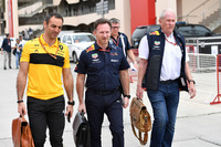 Cyril Abiteboul, Renault Sport F1 teambaas, Christian Horner, Red Bull Racing teambaas en Dr Helmut Marko, Red Bull Motorsport Consultant