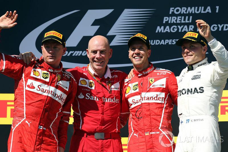 Macaristan GP, Podyum: Yarış galibi Sebastian Vettel, Ferrari, 2. Kimi Raikkonen, Ferrari, 3. Valtteri Bottas, Mercedes AMG F1