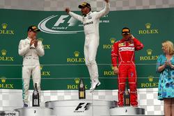 Podium: race winner Lewis Hamilton, Mercedes AMG F1, second place Valtteri Bottas, Mercedes AMG F1, third place Kimi Raikkonen, Ferrari