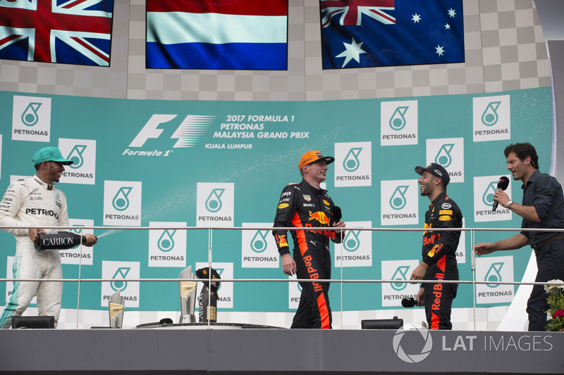 Podium: Mark Webber, second place Lewis Hamilton, Mercedes AMG F1, Race winner Max Verstappen, Red Bull Racing, third place Daniel Ricciardo, Red Bull Racing