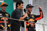 Max Verstappen, Red Bull Racing and Daniel Ricciardo, Red Bull Racing on the podium, Mark Webber (AUS)