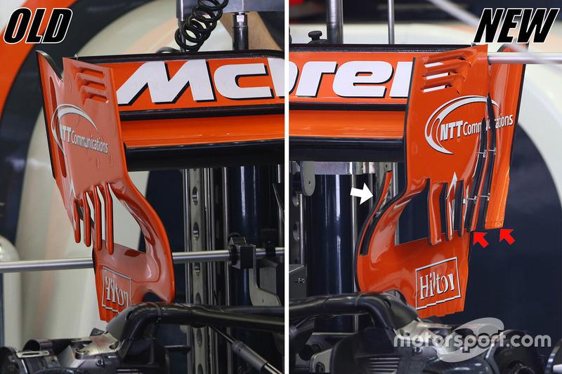 McLaren MCL32 rear wing comparison