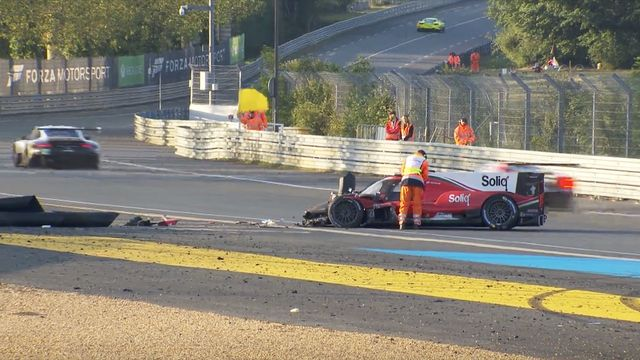 Pastor Maldonado crash in Tertre Rouge