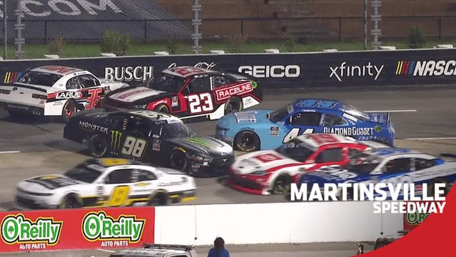 Riley Herbst spins at Martinsville after contact with Myatt Snider