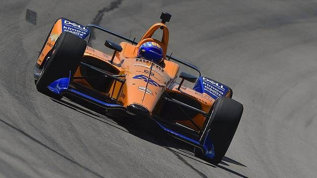 Fernando Alonso tests an IndyCar at Texas Motor Speedway