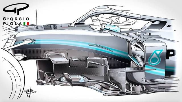 Giorgio Piola Mercedes AMG F1 W10 bargeboards comparison