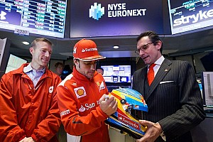 Formula 1 Special feature Alonso rings the bell at NYSE for Hurricane Sandy relief