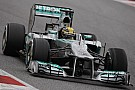 Mercedes' Hamilton takes fastest lap on day four testing in wet Barcelona