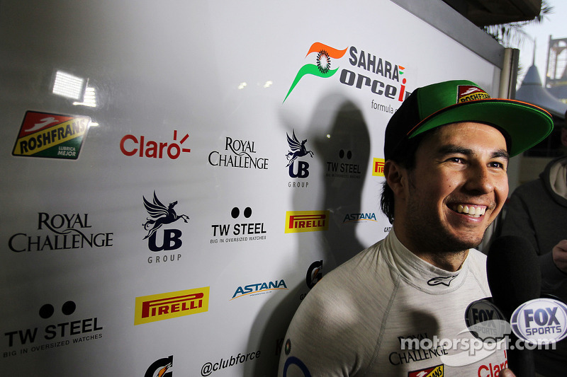 Sahara Force India's Perez set the fastest lap time of the day in Bahrain