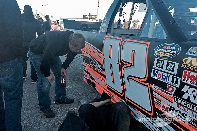The wheels comes off for Austin Hill in multi-truck wreck