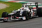 La Sauber con i flap ondulati sull'ala anteriore