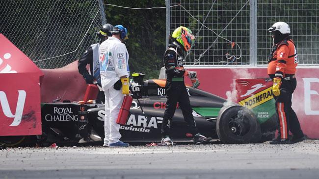 Sergio Perez punito per l'incidente con Felipe Massa