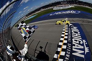 NASCAR Truck Race report Busch battles back for first Michigan win