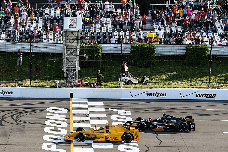 Hunter-Reay wins carnage-filled Pocono race