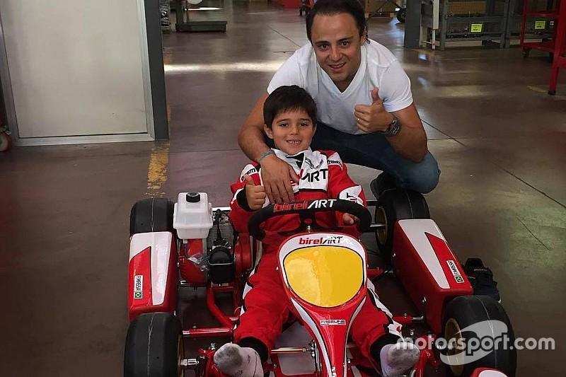 "Filho de Felipe Massa comemora ""primeiro kart"""