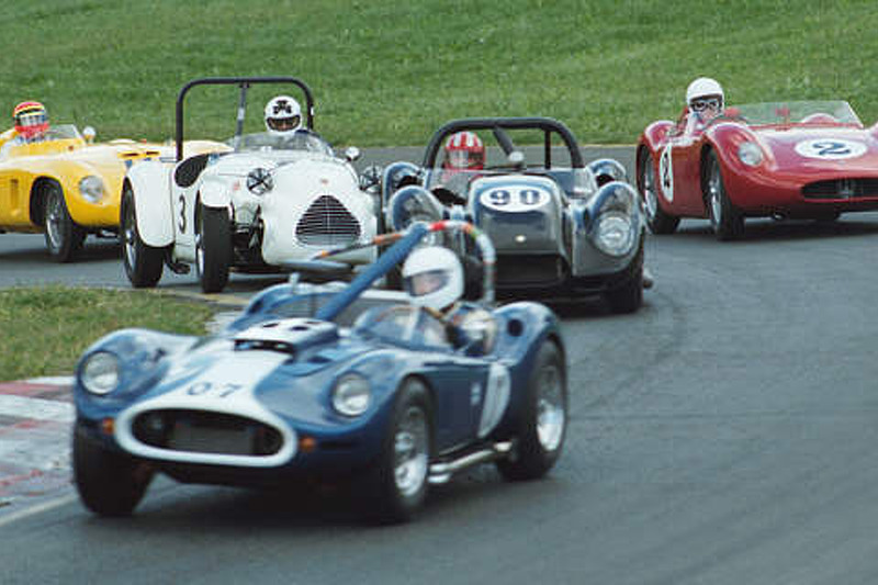 Group 3: #7 1959 Devin SS, #90 1958 Lister-Chevy, #2 1957 Maserati, #3 1949 Jaguar-Parkinson, #115 1956 Ferrari 500 MDTR