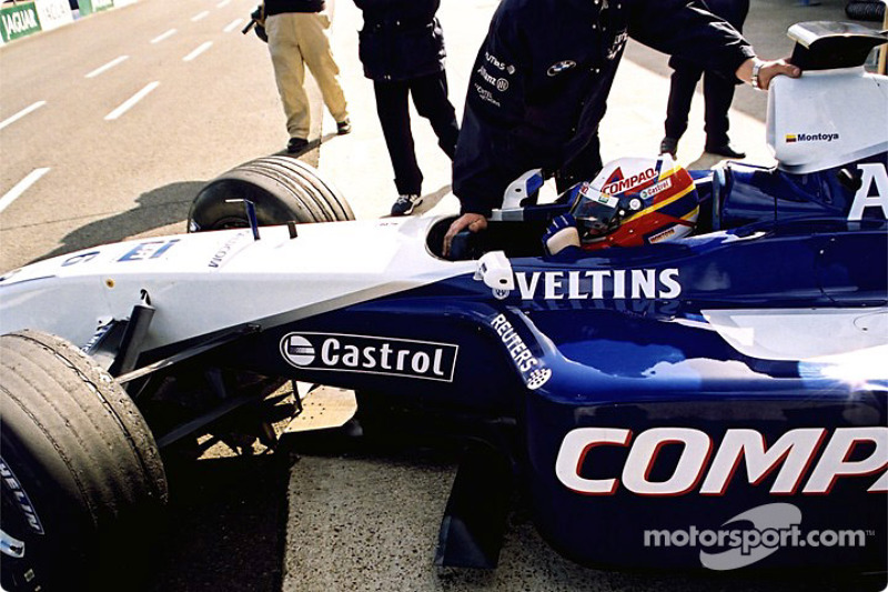 Juan Pablo Montoya in the pits