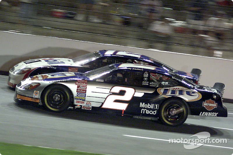 Penske teamates Rusty Wallace and Jeremy Mayfield race side by side.