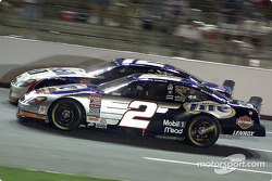 Penske teamates Rusty Wallace and Jeremy Mayfield race side by side.