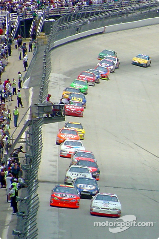 A restart: Kevin Harvick, Jeff Gordon, Rusty Wallace, Dale Jarrett and the rest of the field