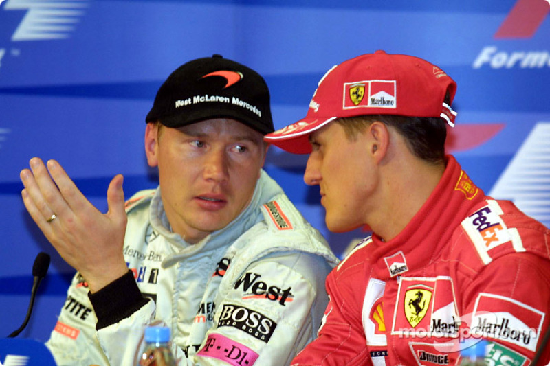 Press conference: Mika Hakkinen and Michael Schumacher