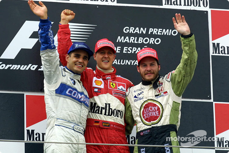 Podium: 2. Juan Pablo Montoya, Williams; 1. Michael Schumacher, Ferrari; 3. Jacques Villeneuve, BAR