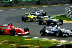 The move: Juan Pablo Montoya passing Michael Schumacher