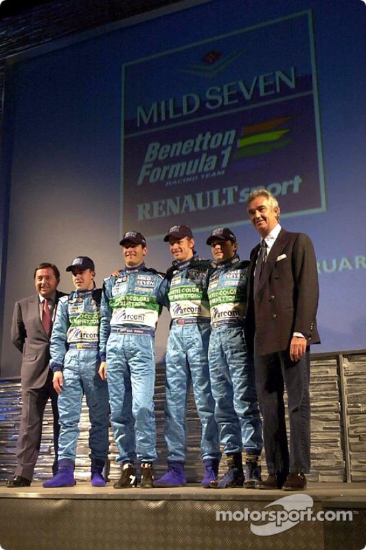 Patrick Faure, Fernando Alonso, Mark Webber, Jenson Button, Giancarlo Fisichella and Flavio Briatore present the new B201