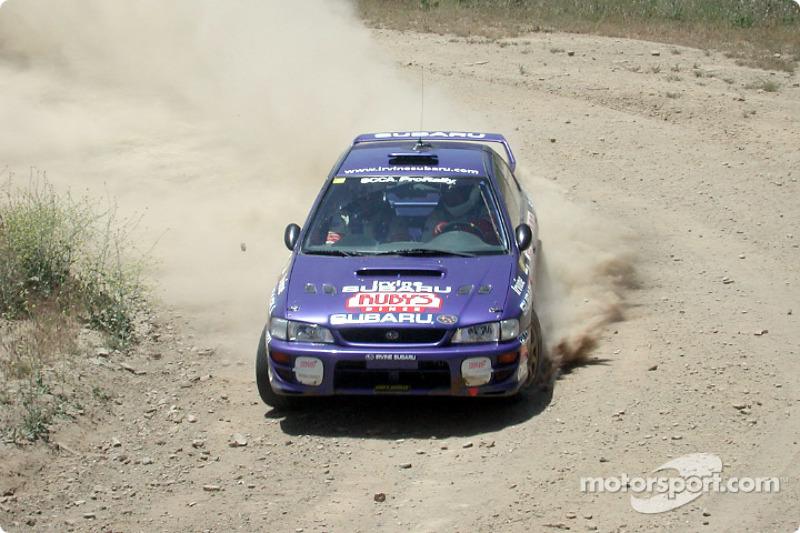 Ralph Kosmides and Joe Noyes in a Subaru WRX