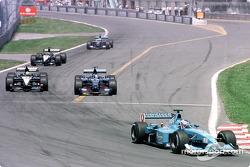 First lap: Jenson Button, Jean Alesi, Tarso Marques, Fernando Alonso and Luciano Burti