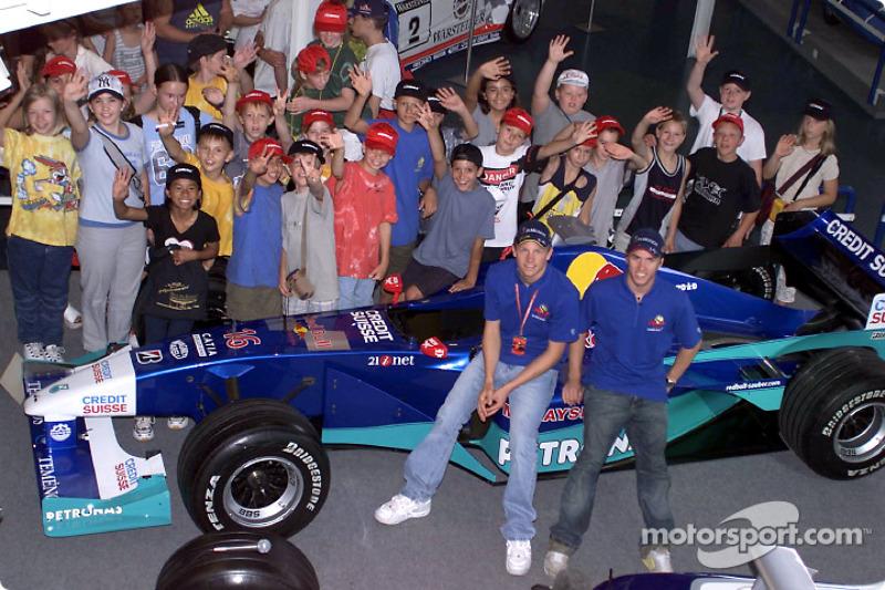 Inauguration of the new CARRERA race track at the Motorsport Museum Hockenheim: Kimi Raikkonen and Nick Heidfeld