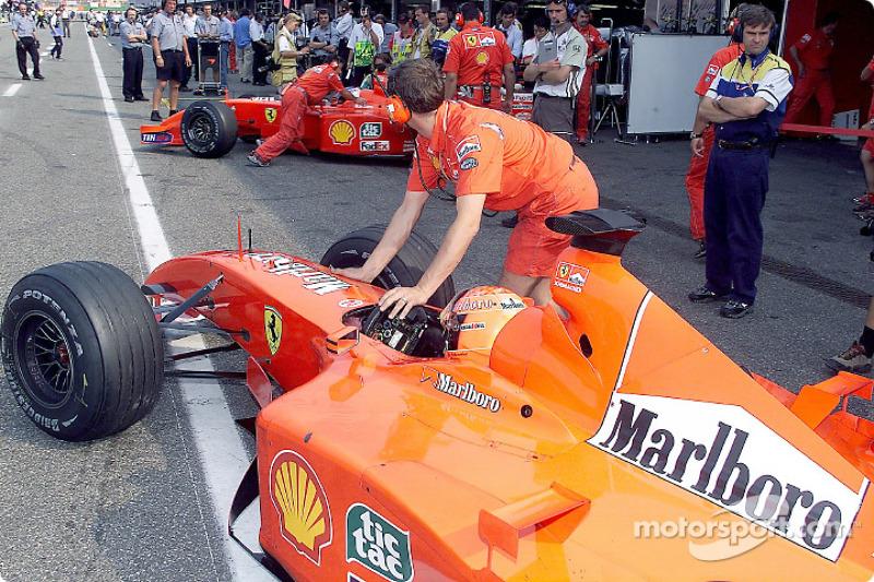 Michael Schumacher and Rubens Barrichello before the race