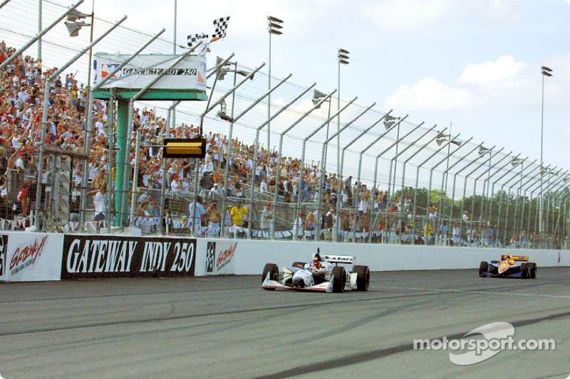 Al Unser Jr. taking the checkered flag