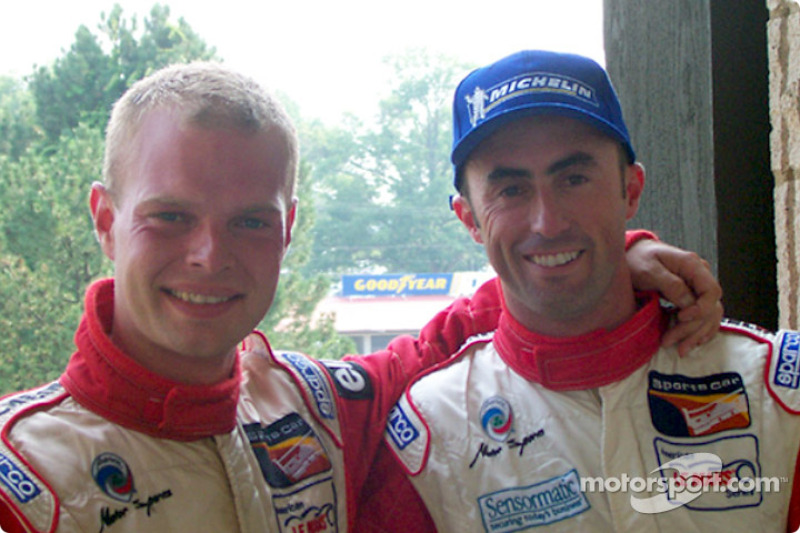 Race winners Jan Magnussen and David Brabham