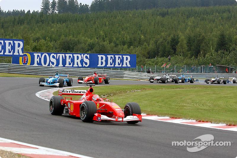 Second start: Michael Schumacher leading Giancarlo Fisichella and Rubens Barrichello