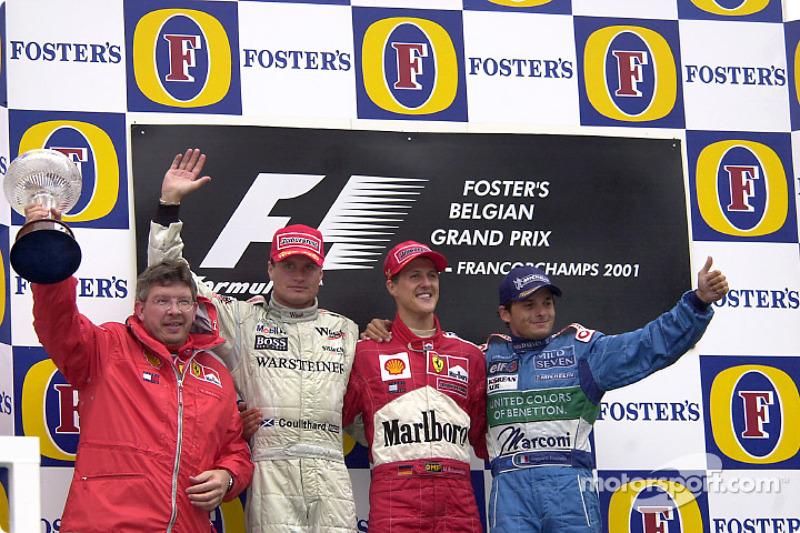 2001: 1. Michael Schumacher, 2. David Coulthard, 3. Giancarlo Fisichella