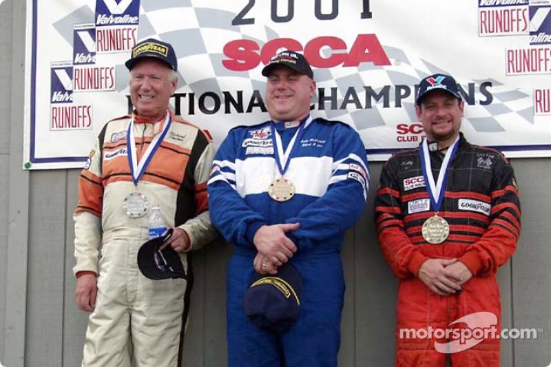 Race 12, American Sedan podium: National Champion Andy McDermid, 2nd Richard Ciochona and 3rd Kelly Lubash