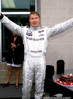 Mika Hakkinen celebrating his 33th birthday