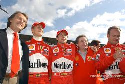 Luca di Montezemelo, Michael Schumacher, Luca Badoer, Jean Todt et Rubens Barrichello
