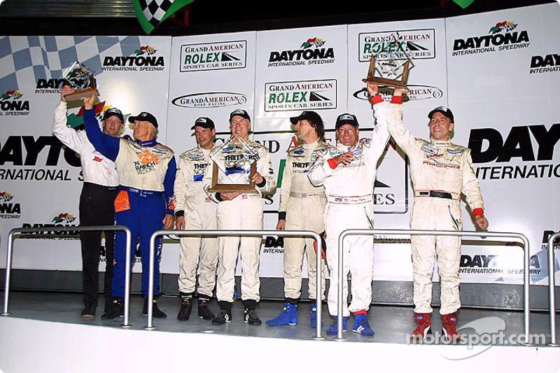 Podium finishers in the Grand-Am finale celebrate in Daytona's Victory Lane