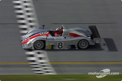 Rand Racing Nissan Lola crosses the finish line at Daytona