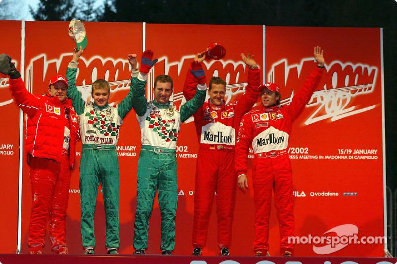 Rubens Barrichello, Marko Asmer, Davide Fore, Michael Schumacher and Luca Badoer