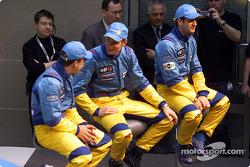 Fernando Alonso, Jenson Button and Jarno Trulli