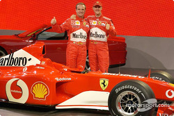 Rubens Barrichello and Michael Schumacher with the new Ferrari F2002