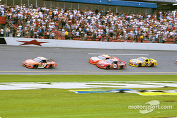 Tony Stewart leading Dale Earnhardt Jr., Jeff Gordon and Ken Schrader