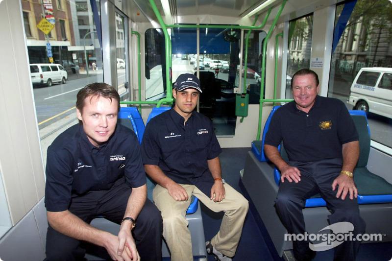Compaq driver day: Sam Michael, Juan Pablo Montoya and Alan Jones