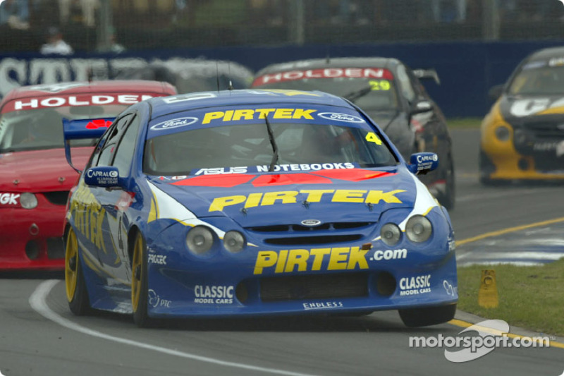 Pirtek Ford driver Marcos Ambrose during his fight back in the V8 Supercar race